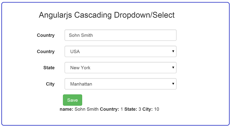 Angularjs Cascading Dropdown/Select with demo :: Advance Sharp