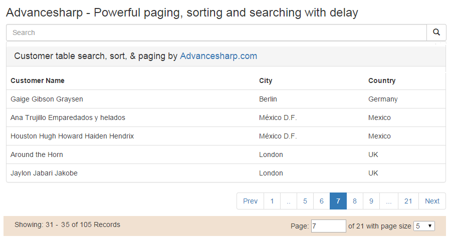 Angularjs powerful paging on table and searching with delay and demo