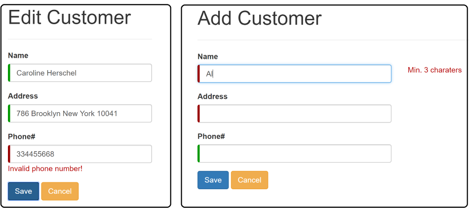 insert, update customer with web api