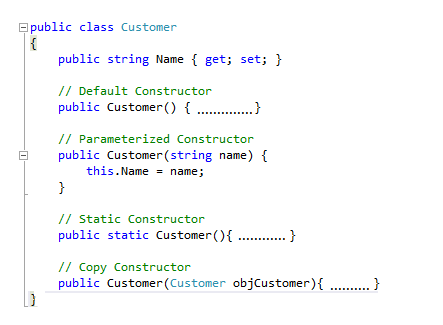 different types of constructors in c#
