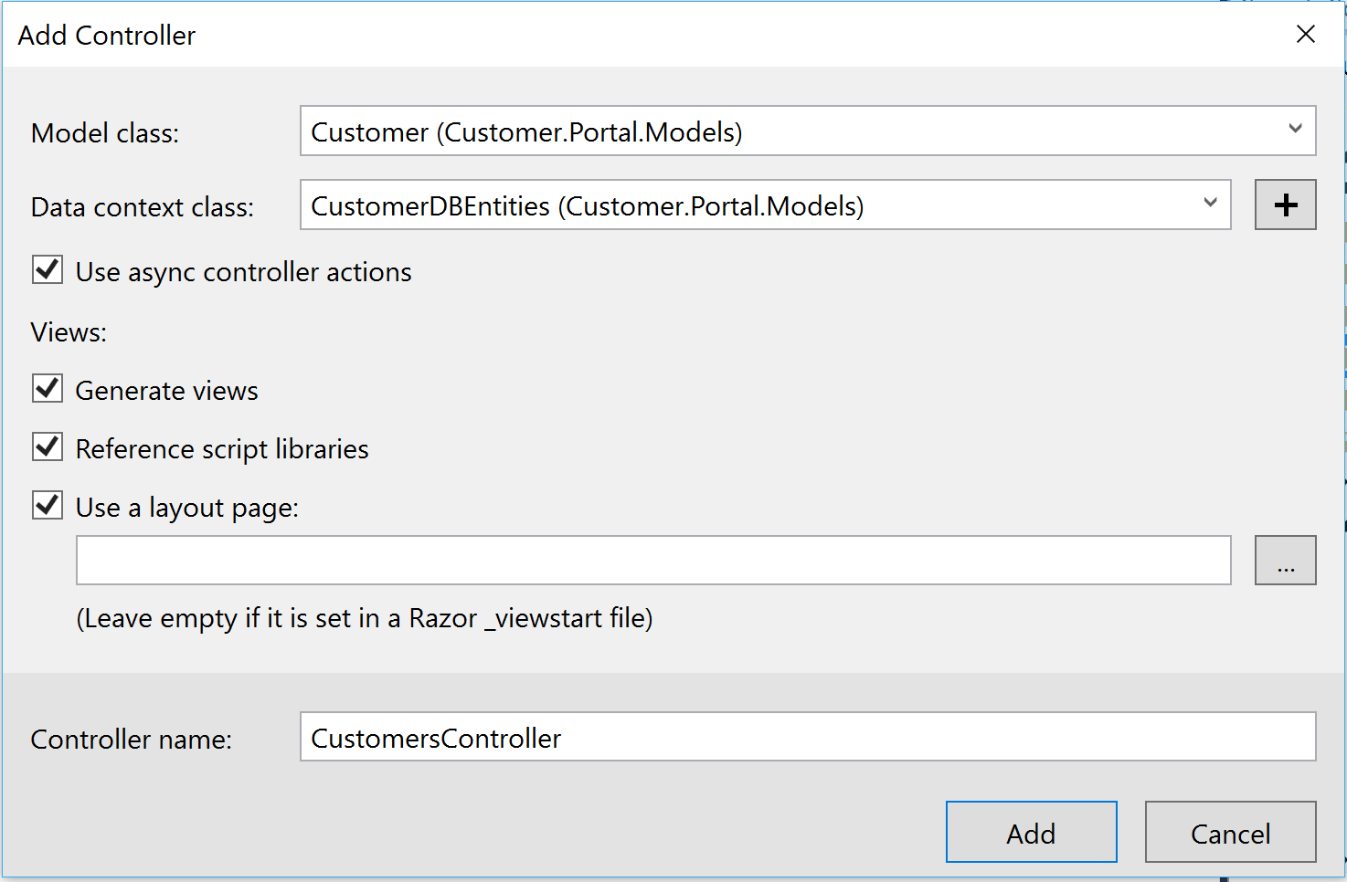Create Customer Controller