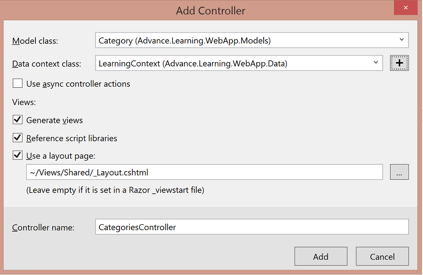 Chose model and context type