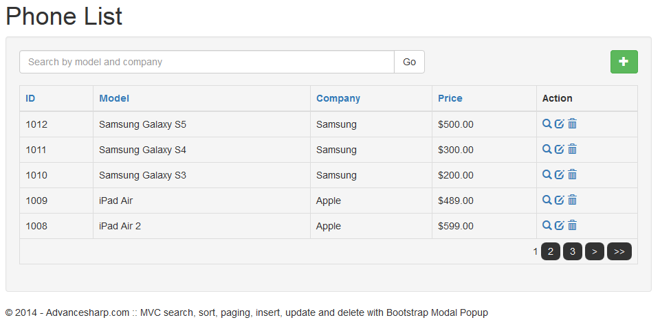 Search Sort Paging Insert Update And Delete With Asp